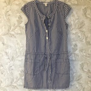 J. Crew Navy Gingham Shirt Dress